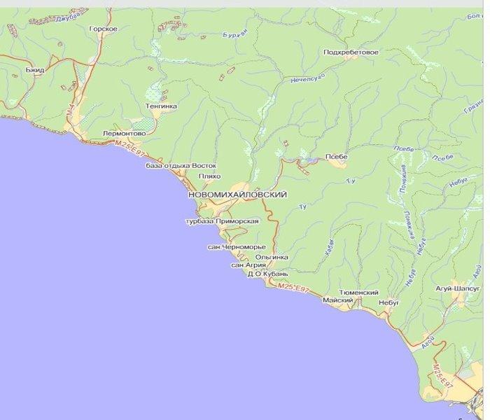 Географическая Карта Черноморского Побережья Кавказа